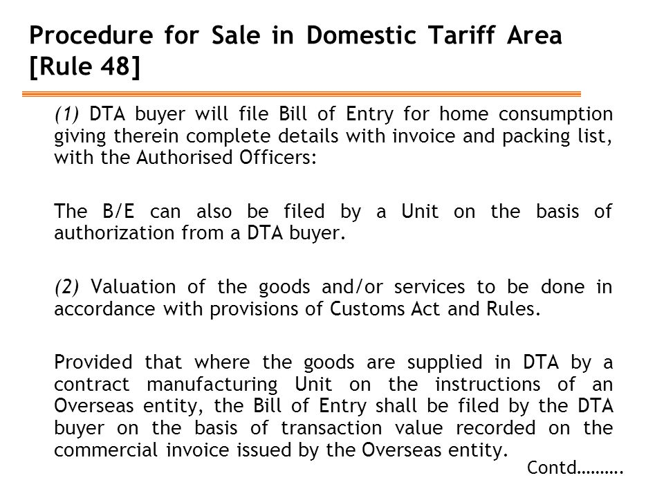 Procedure for Sale in Domestic Tariff Area [Rule 48]